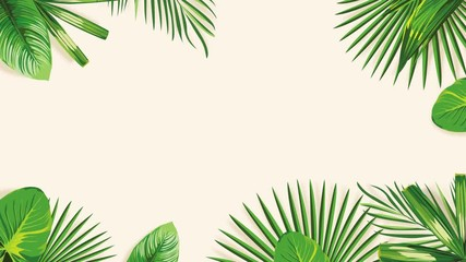 Wall Mural - Nature Exotic Tropical Green Palm Banana Leaves Take Shape Border, Frame Motion Animation. 4K Animated Footage Jungle Background.