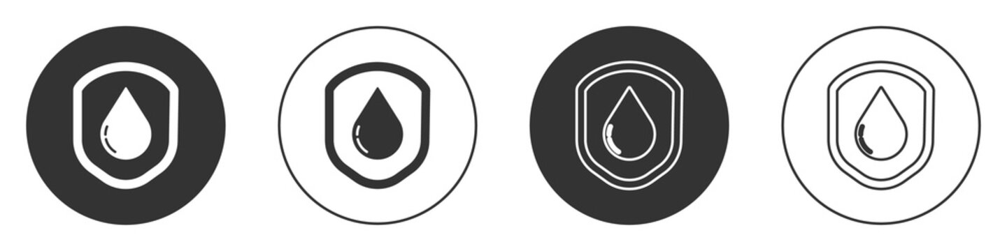 Black Waterproof icon isolated on white background. Water resistant or liquid protection concept. Circle button. Vector Illustration