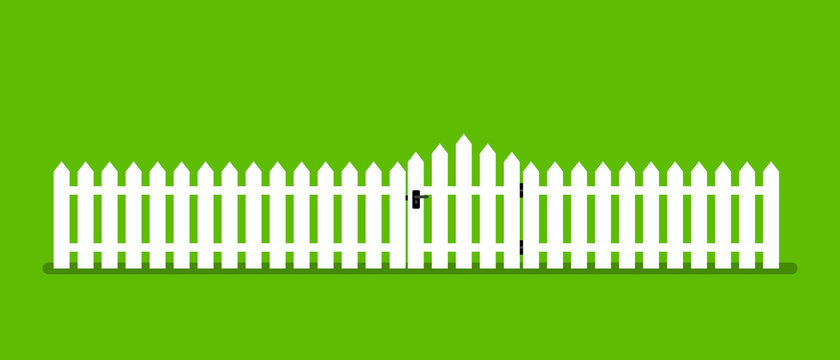 White wooden fence with garden gate in flat style