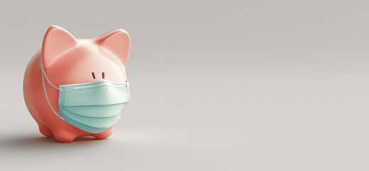 Concept of economic crisis. Creative pig with a medical mask. Coronavirus pandemic and the collapse of the economy. 3d rendering