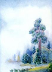 Obraz drzewo nad jeziorem
