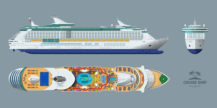 Isolated blueprint of cruise ship. Side, top and front views. Realistic 3d liner. Detailed drawing of modern marine vessel. Sea travel transpotation