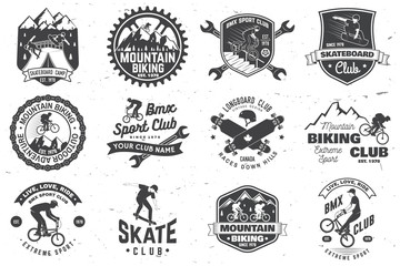 Set of bmx, skateboard and mtb extreme sport club badge. Vector. Concept for shirt, logo, print, stamp, tee with man ride on a sport bicycle, skateboard and bmx. Extreme sport club badge