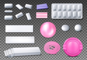 Fototapeta Chewing gum package vector mockups. Realistic bubblegum bubble, blister pack of mint or menthol pads, sticks and ribbon gum, coated dragee, pillows, pellets, tabs, plastic box and foil wrapping paper obraz