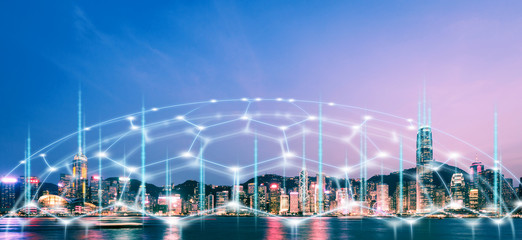 Fotomurales - Smart Network and Connection city of Hong Kong