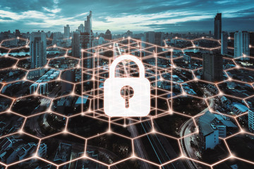 Fotomurales - Cyber security network city