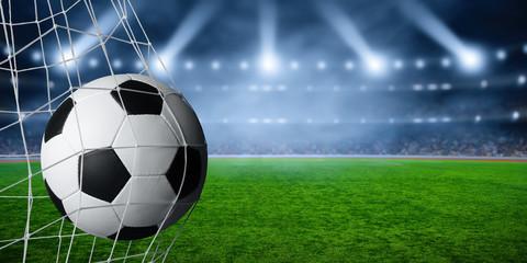 Soccer ball  goal concept on stadium