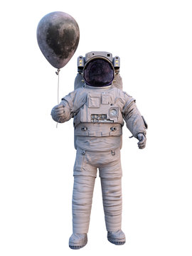 astronaut with Moon balloon isolated on white background