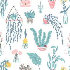 Cozy home decor elements seamless pattern. Vector hand drawn isolate illustrations of cute home plants in pots and banks, vases. Simple cartoony flat scandinavian style in pastel palette. Stay at home