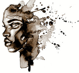 Beautiful African woman portrait in watercolor with splatter