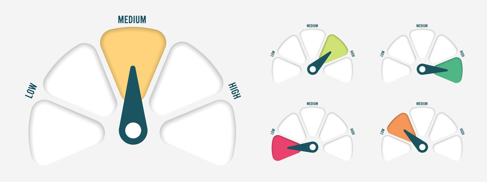 Radial scale from red to green with arrow hand pointer. Vector illustration.