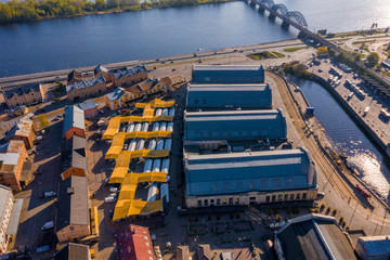 Fotomurales - Aerial view from drone on Riga Central market located in the city center next to the Daugava river.