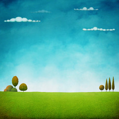Beautiful bright natural background with sky, cloud and green field. Computer graphics.