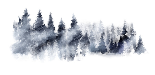 Watercolor Dark grey landscape of foggy forest hill. Wild nature, frozen, misty, taiga. Horizontal watercolor background. Evergreen coniferous trees. Wall mural