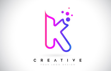 Dots Letter K Logo. K Letter Design Vector with Dots.Vector Lettering Illustration of a Colorful Alphabet with Bubbles.