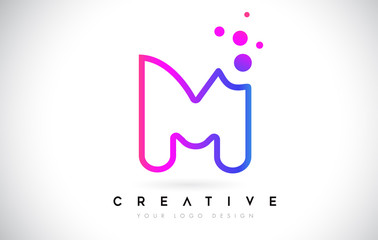 Dots Letter M Logo. M Letter Design Vector with Dots.Vector Lettering Illustration of a Colorful Alphabet with Bubbles.