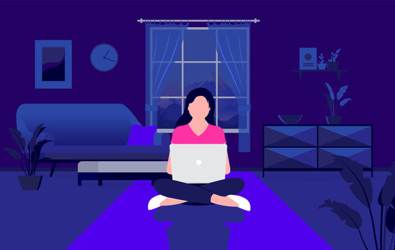 Working late - Woman at home with laptop computer working on the floor at night time. Work from home, late hours, overtime and quarantine concept. Vector illustration.