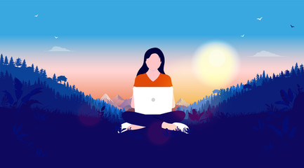 Woman with laptop in nature landscape. Sunset, forest and mountains in background. Freelancer, work from anywhere and freedom concept. Vector illustration.