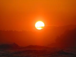 Foto auf Gartenposter Ziegel Scenic View Of Landscape Against Orange Sky