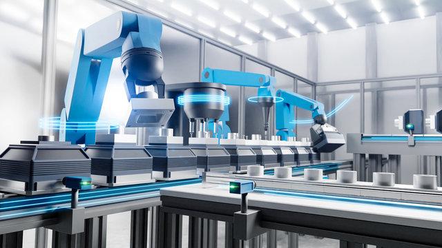 Serienproduktion mit Robotern am Fließband und leuchtenen Bewegungslinien