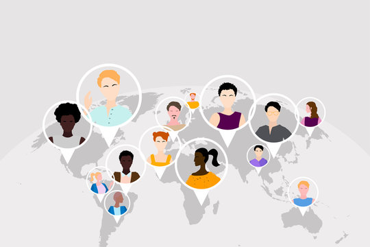 World connection. Different people around the world work together, communicate and online briefing, training in an international group.
