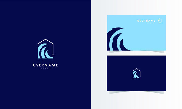 Wave House Logo Mark with business card template design for branding identity