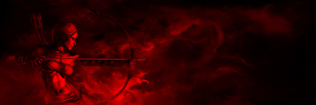Survivor archer woman banner/ Horror fantasy banner with bow shooting woman in a dark red mist