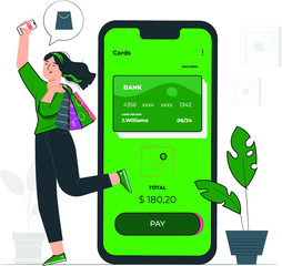 Girl Sopping online with Credit Card in Smartphone app
