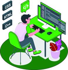 Student programming on computer