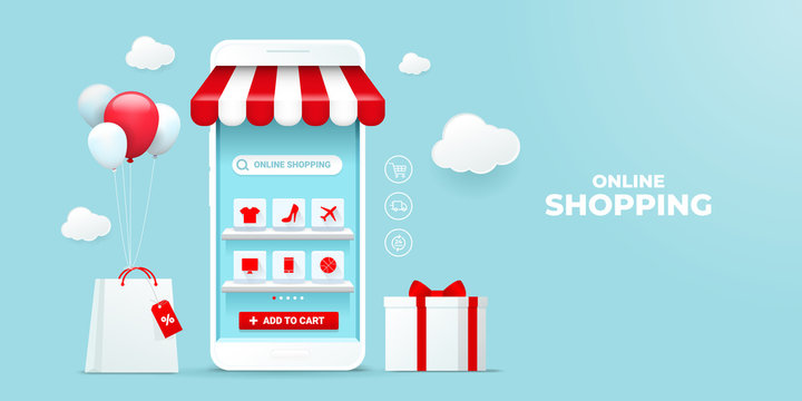 Online shopping concept illustrations on the mobile application. e-commerce with icons on the shelf on the smartphone screen. for digital marketing promotions. bag and gift box store element.