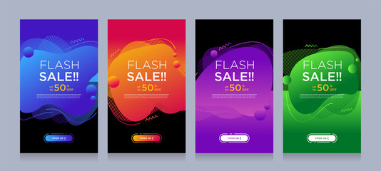 Modern colorful advertising poster for flash sale banners with dynamic shape. Sale banner template design, Flash sale special offer set