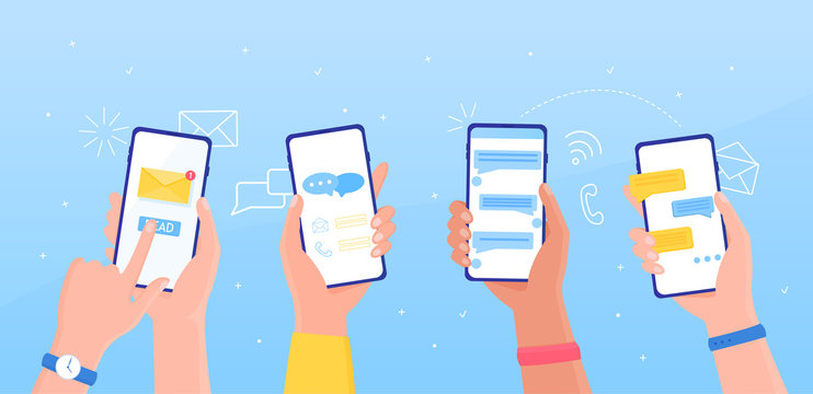 Notification message concept SMS bubble on the screen People chatting concept People holding a phone receive and send a message. Receive notifications On a blue background Colorful Vector Illustration