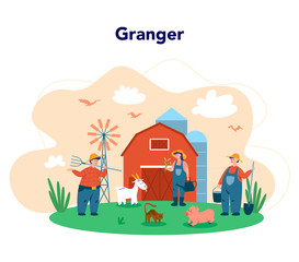 Working on a fram, farmer concept. Farmers working on the field,