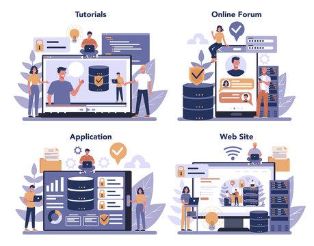 Data base administrator online service or platform set. Female and