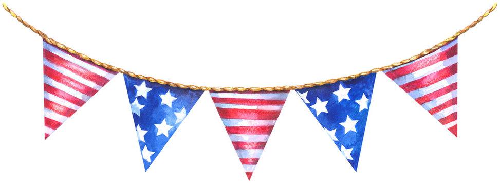 America triangle flag garland