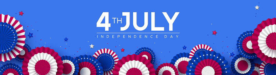 Fototapeta 4th of July, USA Independence day banner. Paper fans in colors of American flag with confetti and stars. Vector illustration. obraz
