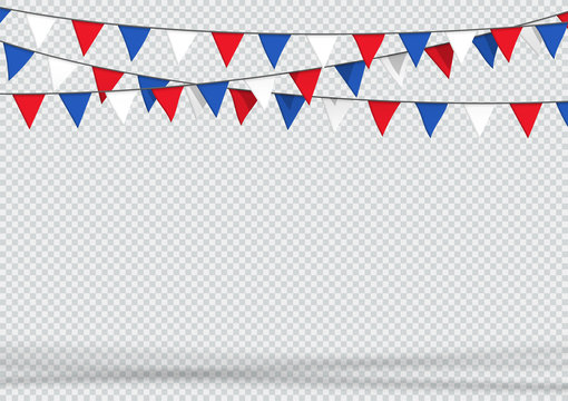 Bunting Hanging Banner Red White Blue Flag Triangles Background
