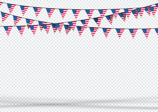 Bunting Hanging Banner USA American Flag Triangle Background