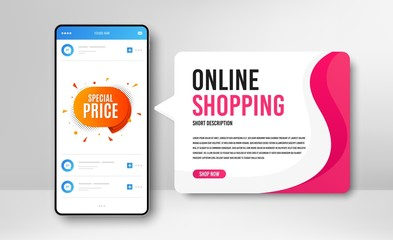 Keuken foto achterwand Hoogte schaal Phone banner template. Special price badge. Discount banner shape. Sale coupon bubble icon. Social media banner with smartphone screen. Online shopping web template. Vector
