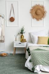 Interior of modern comfortable bedroom