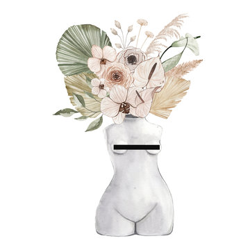 Watercolor antique marble nude woman statue sculpture vase with boho flowers, dried tropical palm leaf isolated on white background. Ancient greek illustration