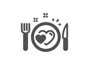 Romantic dinner icon. Valentines day food sign. Couple relationships symbol. Classic flat style. Quality design element. Simple romantic dinner icon. Vector
