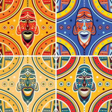 African Mask Pattern Art (Vector Art)