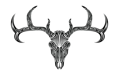 Creepy deer skull with antlers horns ethnic tribal tattoo vector art design illustration