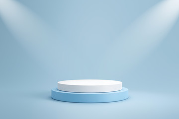 Studio template and white round shape pedestal on light blue background with spotlight product...