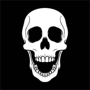 laughing skull with open mouth against black background. vector illustration, comic, isolated, horror.