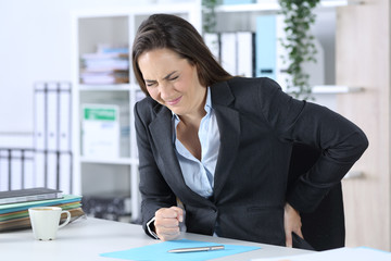Executive suffering painful backache at office