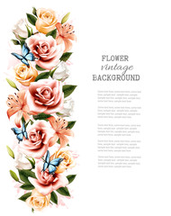 Wall Mural - Flower background with beautiful roses and butterflies. Vector.
