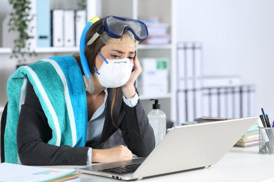 Sad executive with canceled vacation due coronavirus
