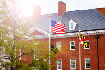 US flag in front of government building in Annapolis, Maryland, USA